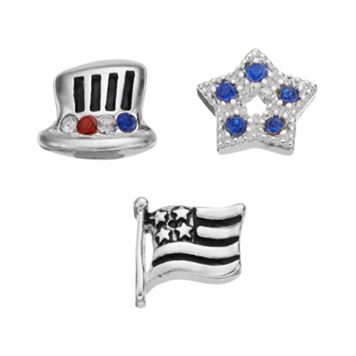 Blue La Rue Crystal Silver-Plated Star, Uncle Sam Hat & American Flag Charm Set