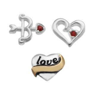 "Blue La Rue Crystal Silver-Plated & 14k Gold-Plated ""Love"" Heart, Cutout Heart and Bow & Arrow Charm Set"