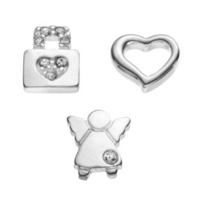 Blue La Rue Crystal Silver-Plated Heart, Angel and Heart Lock Charm Set
