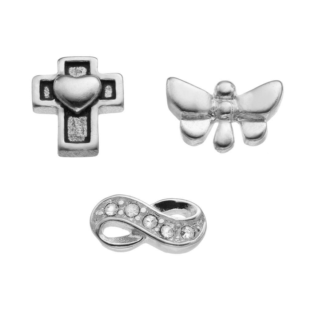 Blue La Rue Crystal Silver-Plated Infinity, Butterfly & Cross Charm Set