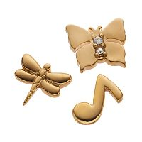 Blue La Rue Crystal 14k Gold-Plated Music Note, Dragonfly & Butterfly Charm Set