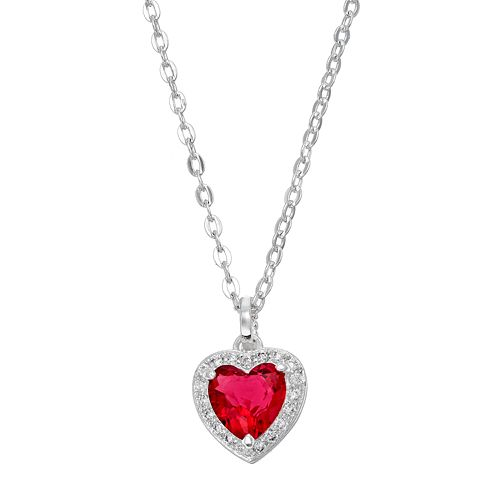 City Rox Cubic Zirconia Halo Heart Pendant Necklace