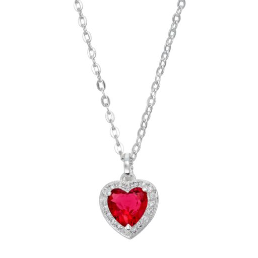 City Rox Cubic Zirconia Halo Heart Pendant Necklace