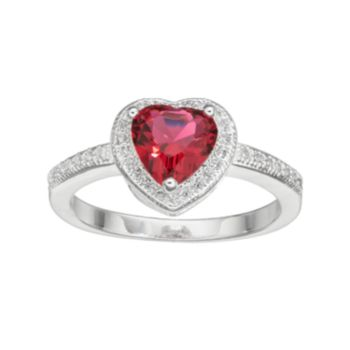 City Rox Cubic Zirconia Halo Heart Ring