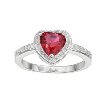 City Rox Cubic Zirconia Halo Heart Ring