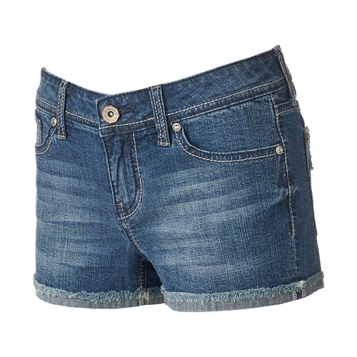 Juniors' Hydraulic Lola Frayed Curvy Shortie Shorts