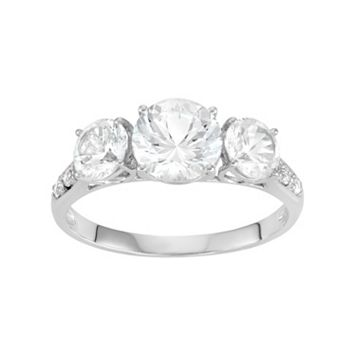 100 Facets of Love 10k White Gold Lab-Created White Sapphire 3-Stone Engagement Ring