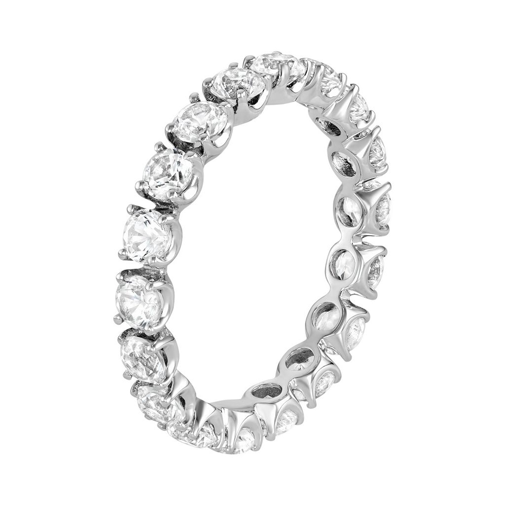 100 Facets of Love 10k White Gold Lab-Created White Sapphire Eternity Ring