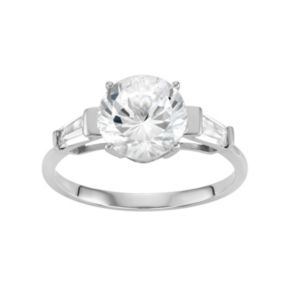 100 Facets of Love 10k White Gold Lab-Created White Sapphire Engagement Ring