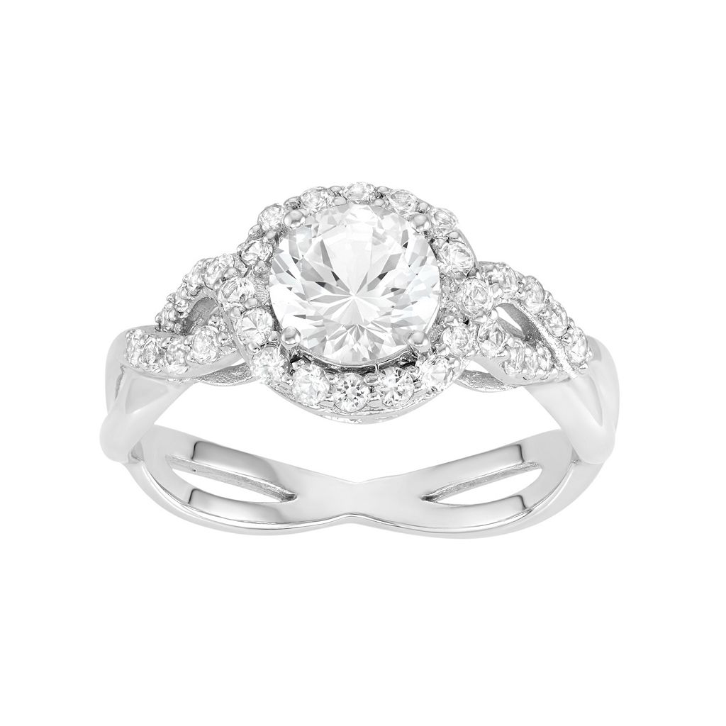 100 Facets of Love 10k White Gold Lab-Created White Sapphire Halo Engagement Ring