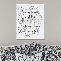 ''Love is Patient'' Script Wall Art