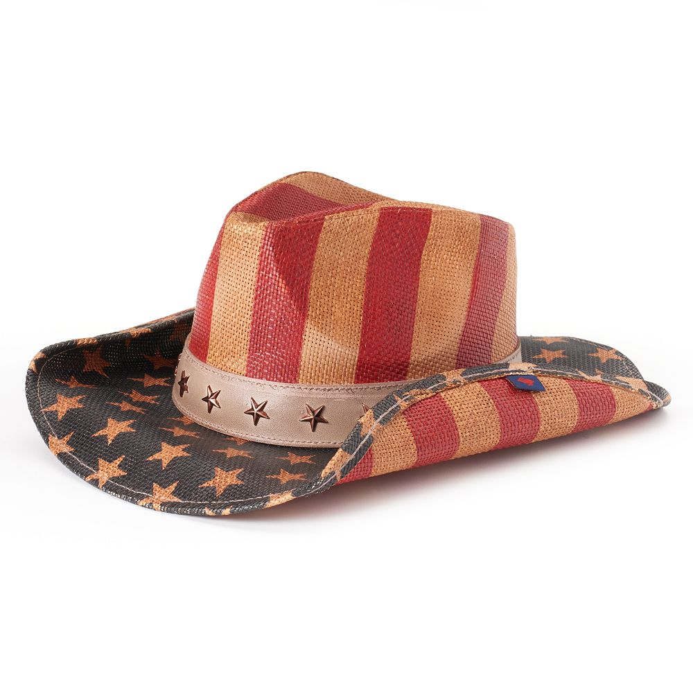 Women s Peter Grimm Justice Distressed American Flag Cowboy Hat 5824c61b76e