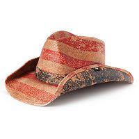 Women's Peter Grimm Patriot American Flag Straw Cowboy Hat