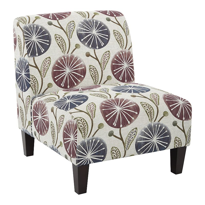 Create an eye-catching space with this Ave Six Magnolia accent chair. Ample cushioning provides comfort Solid wood base provides durability 31.25\\\'\\\'H x 26.5\\\'\\\'W x 30.75\\\'\\\'D 17.25\\\'\\\' seat height Wood, polyester Spot clean Assembly requiredManufacturer\\\'s 1-year limited warrantyFor warranty information please click here MODEL NUMBERS Arizona lavender: MAG51-J7 Arizona onyx: MAG51-J8 Elan damask lemongrass: MAG51-R6 Brushed dot peacock: MAG51-R7 Brushed dot poppy: MAG51-R8  Size: One Size. Color: Purple. Gender: unisex. Age Group: adult.