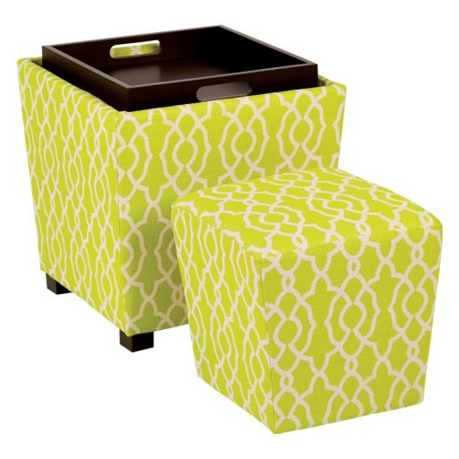 OSP Designs 2-piece Ottoman Set with Tray Top