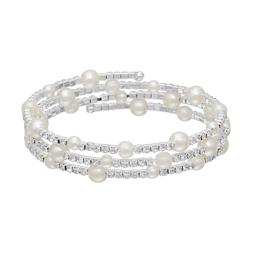Simulated Pearl Station Coil Bracelet