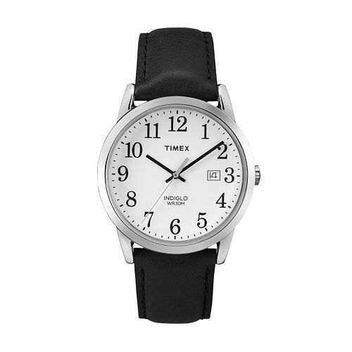 Timex men 39 s easy reader leather watch tw2p756009j for Watches kohls