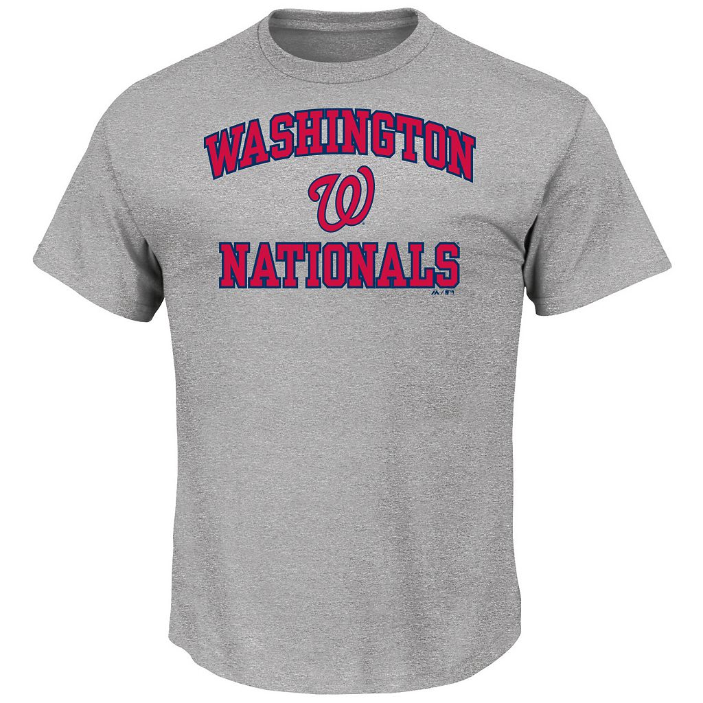 Men's Majestic Washington Nationals Gray Heart & Soul Tee