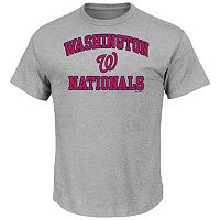 Men's Majestic Washington Nationals Gray Heart & Soul Tee