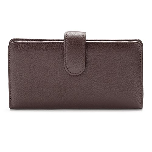 Buxton Hudson Pik-Me-Up Leather Checkbook Clutch Wallet