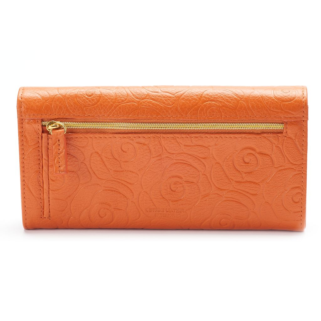 Buxton Rose Garden Leather Expandable Clutch