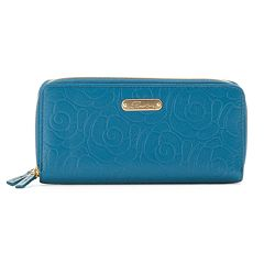 Buxton Rose Garden Double-Zip Leather Clutch
