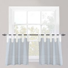 Park B. Smith Nordic Bands Chambray Tier Kitchen Window Curtain Set