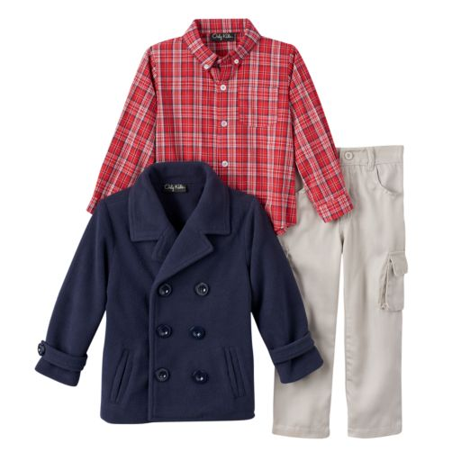 Only Kids Apparel Toddler Boy Peacoat & Pants Set