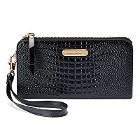 Women's Leatherbay Crocodile Accordion Wristlet Wallet