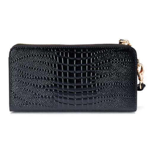 Women's Leatherbay Crocodile Accordion Wristlet Wallet
