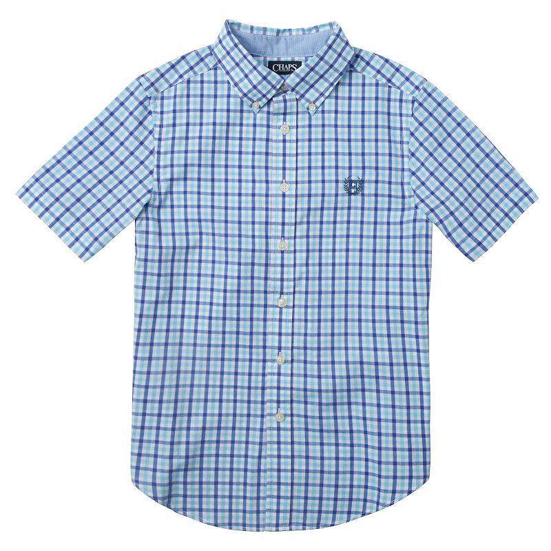 Boys 4-7 Chaps Blue Gingham Plaid Short Sleeve Shirt