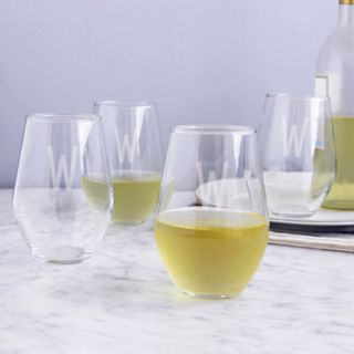 Cathy's Concepts 4-pc. Monogram Stemless Wine Glass Set