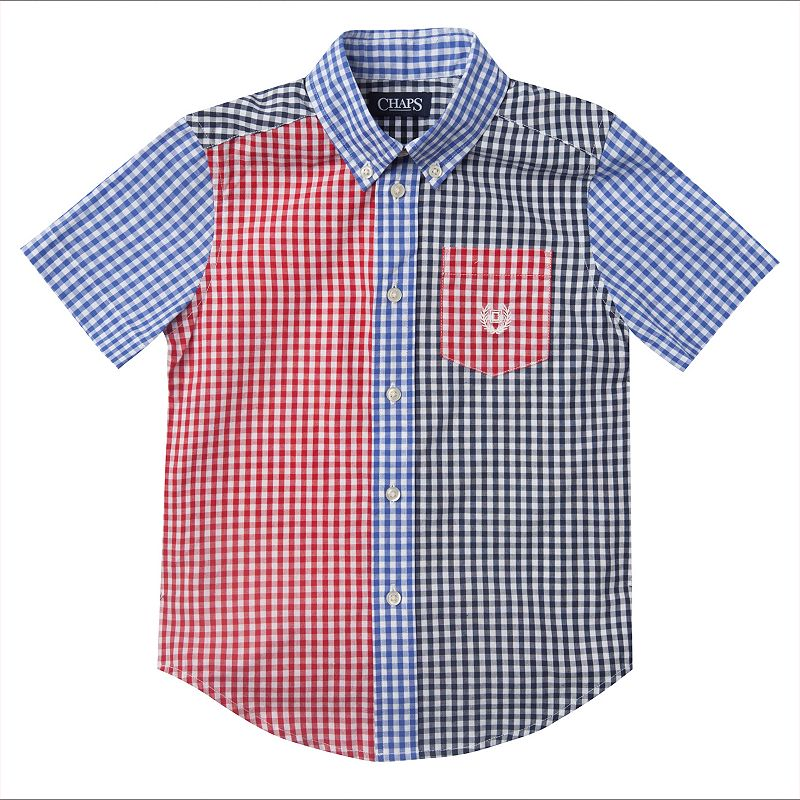 Boys 4-7 Chaps Mixed Gingham Plaid Short Sleeve Shirt