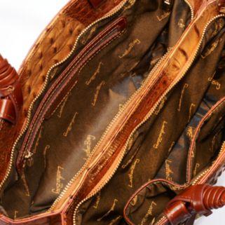 Leatherbay Umbria Crocodile Convertible Satchel