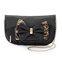 Lenore by La Regale Fold-Over Sequin Bow Clutch