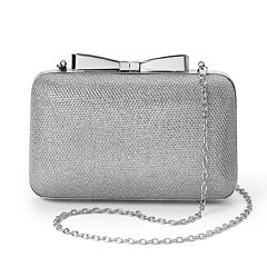 Lenore by La Regale Glitter Metallic Minaudiere Clutch