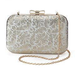 Lenore by La Regale Metallic Jacquard Minaudiere Clutch
