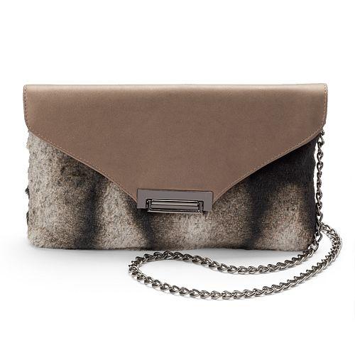 Lenore by La Regale Faux-Fur Flap Crossbody Bag