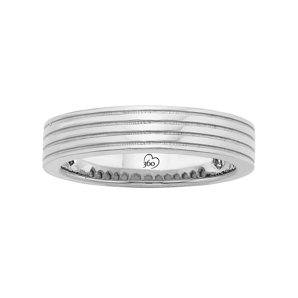 LOVE 360 14k White Gold Grooved Wedding Band