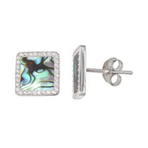 Sterling Silver Cubic Zirconia & Abalone Halo Stud Earrings