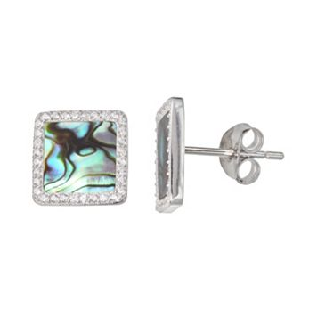 Sterling Silver Cubic Zirconia & Abalone Halo Stud Earrings
