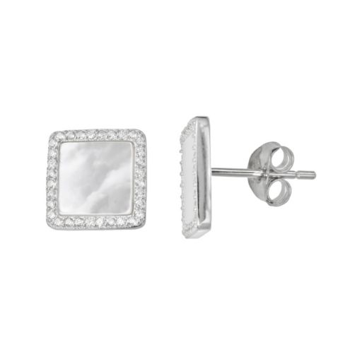 Sterling Silver Cubic Zirconia & Mother-of-Pearl Halo Stud Earrings