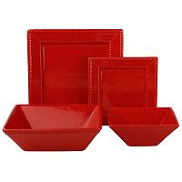 10 Strawberry Street Nova Beaded 19 pc Square Dinnerware Set