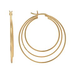 14k Gold-Plated Twist Triple Hoop Earrings
