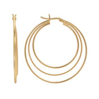 14k Gold-Plated Twist Triple Hoop Earrings