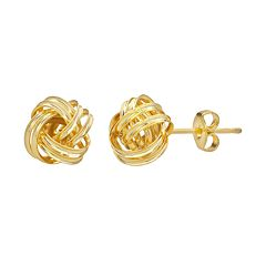 14k Gold-Plated Love Knot Stud Earrings