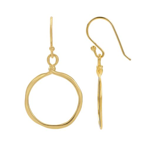14k Gold-Plated Hoop Drop Earrings