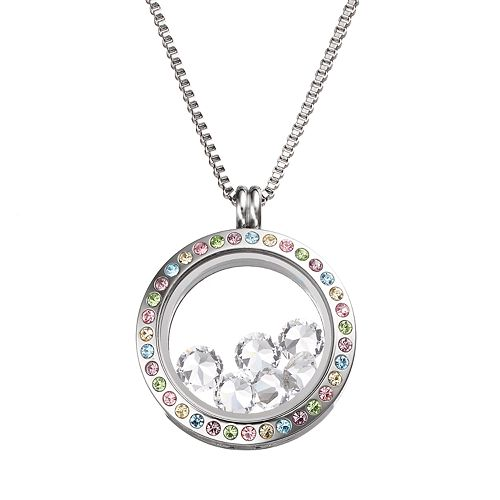 Blue La Rue Crystal Stainless Steel 1-in. Round Charm Locket - Made with Swarovski Elements