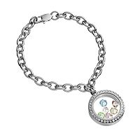 Blue La Rue Crystal Stainless Steel 1-in. Round Charm Locket Chain Bracelet - Made with Swarovski Elements