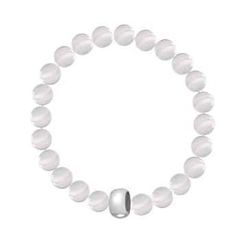 Individuality Beads White Cat's-Eye Bead Sterling Silver Charm Stretch Bracelet